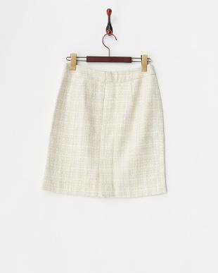 アイボリー  ラメチェックブークレツイードタイトスカート見る