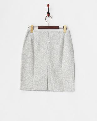 ライトグレー フラワージャガードタイトスカート見る
