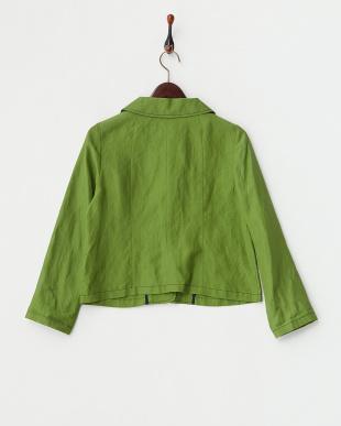 グリーン  刺繍くるみボタン付き 麻混ジャケット見る