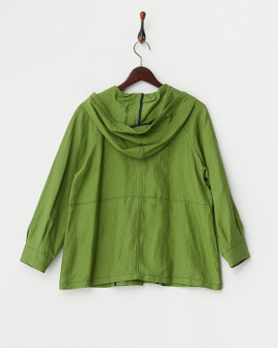 グリーン  刺繍くるみボタン付き 麻混フードジャケット見る