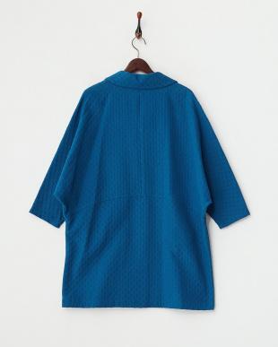 ブルー  ドット織り ドルマンスリーブロングジャケット見る
