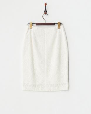 ホワイト 格子ボンディングレースタイトスカート見る