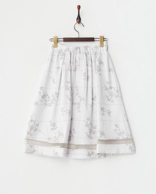 サックス  千鳥×フロッキー加工フラワー スカート見る