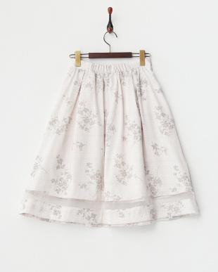ベージュ  千鳥×フロッキー加工フラワー スカート見る