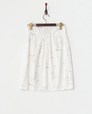 オフホワイト  オリジナルオルキデアフラワー柄タックタイトスカート見る