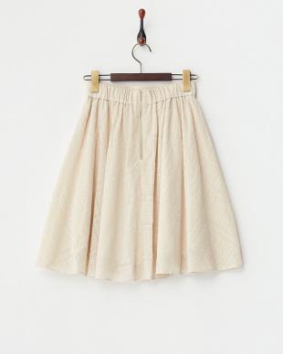 ベージュ 千鳥柄フロッキーフレアスカート見る