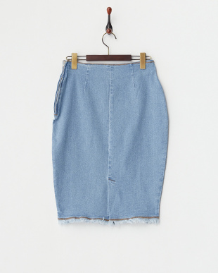 サックス フリンジデニムタイトスカート見る