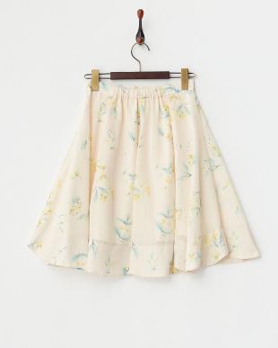 イエロー オリジナルかすれ小花スカート見る