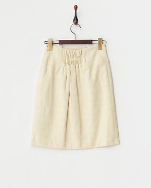 イエロー  ツイード調無地タックタイトスカート見る