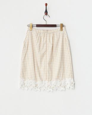 ベージュ 裾レースギンガムタイトスカート見る