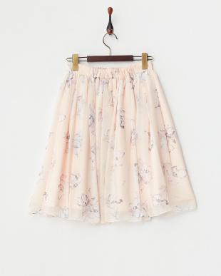 オレンジ オリジナル油絵フラワー柄スカート見る