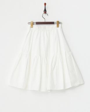 オフホワイト 切り替えギャザー ボリュームスカート見る