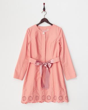 ピンク 裾刺繍コート見る