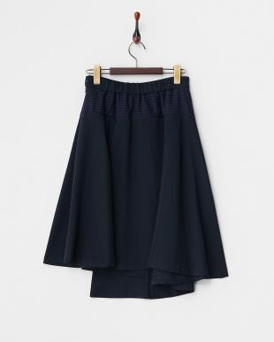 ネイビー  異素材使いフレアスカート見る