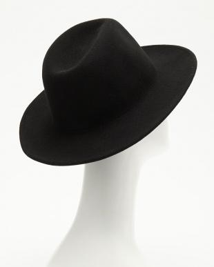 BLACK  つば広フェルト帽見る