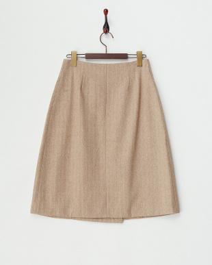 CAMEL  ヘリンボーンウールラップスカート見る