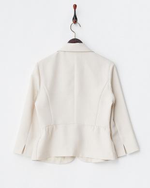 ベージュ  格子織り柄7分袖ペプラムジャケット見る
