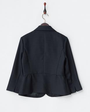 ネイビー  格子織り柄7分袖ペプラムジャケット見る