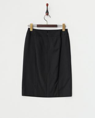 ブラックストライプ  ストレッチタイトスカート見る