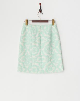 グリーン  スリット入りパステルジャカードスカート見る