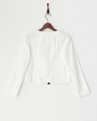 ホワイト  グログランリボン ノーカラージャケット見る