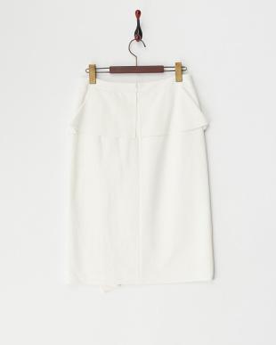 ホワイト  ラッフルフリルストレッチスカート見る