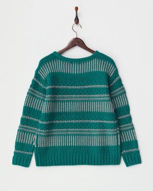 グリーン  模様編みボーダーニット見る