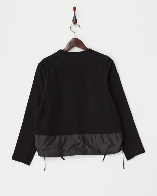 BLACK  SWEAT SHIRRED TOP見る