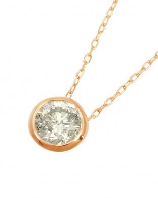 K18PG  天然ダイヤモンド 0.3ct フクリン 一粒ペンダント見る