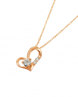 K18PG  天然ダイヤモンド0.1ct フェミニンハートネックレス見る