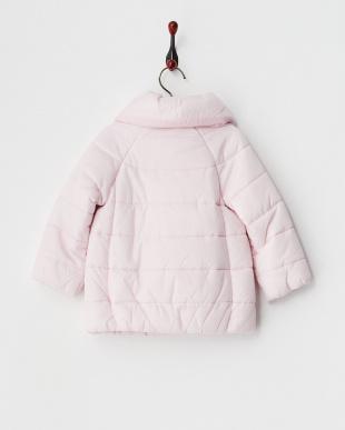 ピンク  フラワーモチーフ付き中綿コート12M~見る