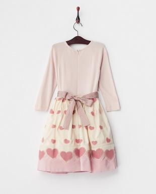 ピンク 起毛ハートワンピース12Y~見る