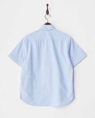ブルー オックスボタンダウン半袖プルオーバーシャツ見る
