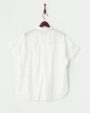 ホワイト ローン 半袖スキッパーシャツ見る