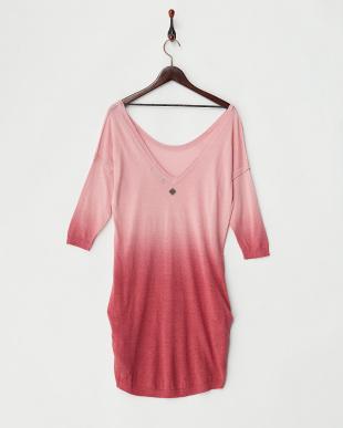 ピンク  ニットチュニックドレス見る