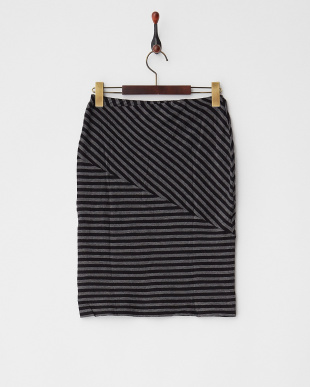 BLACK  ストライプ切り替えカットスカート見る