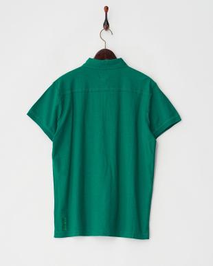 グリーン  前たてポケット付きポロシャツ見る