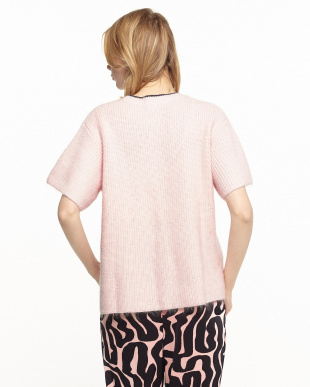 ピンク  モヘア混半袖セーター見る
