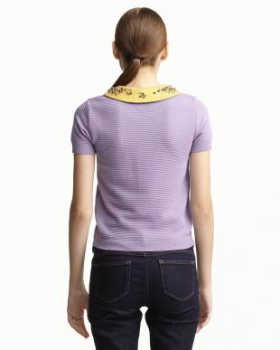 lilac  ビジューフラワー衿付きニット見る