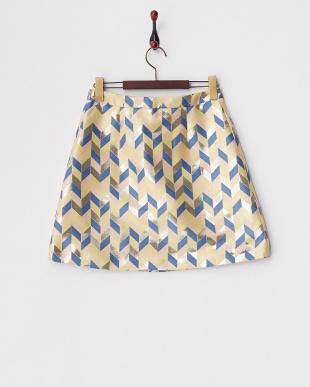 ベージュ IMMENSO ラメ混幾何学柄スカート見る