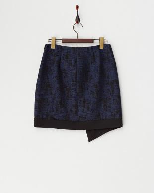 navy blue pattern PERNICE ラップ風デザインスカート見る