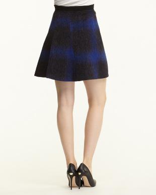 navy blue pattern PIANOSA シャギーZIPラップスカート見る