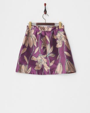 パープル PAN フラワージャガードスカート見る
