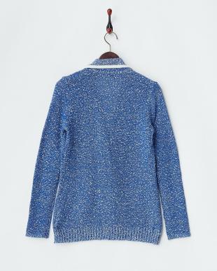 ブルー系 イタリア糸ツイードニットジャケット見る