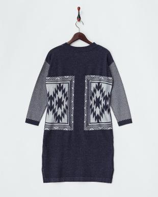 ネイビー×ホワイト 配色リンクス柄編みワンピース見る