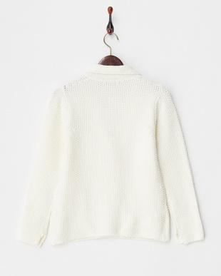 ホワイト 鹿の子編みテーラードニットジャケット見る