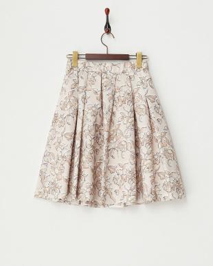 ピンクベージュ  ボックスタックフラワースカート見る