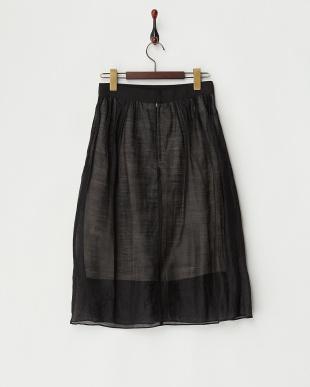 ブラック  オーガンジーギャザーミディスカート見る