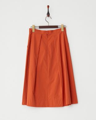 オレンジ  変形タックフレアスカート見る