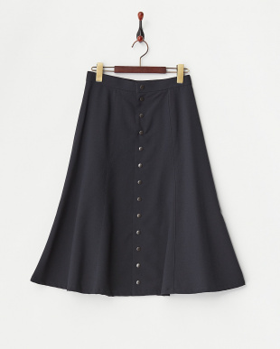 NAVY TROPICAL STRTCH FRONT BOTTON SKIRT見る